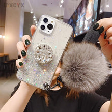Load image into Gallery viewer, Glitter Phone Case with Holder Stand and Pink Poof