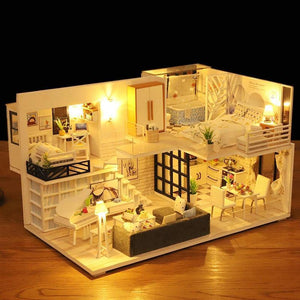 New Doll House Furniture Wooden Toys Diy Dollhouse Miniature Dollhouse Assemble 3D Miniaturas Puzzle Toys For Children Girl Gift - Kawaii-Crafts.com