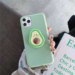 Kawaii Avocado Silicone Phone Case for iPhone