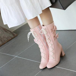 Sweet Lolita Lace-Up Boots with Bows