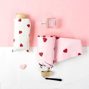 Mini Vinyl Umbrella With Kawaii Hearts
