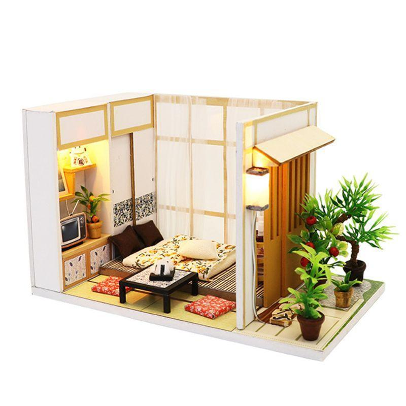 DIY Miniature Japanese Tatami Dollhouse Wooden Furniture with LED Light for Gift - Kawaii-Crafts.com