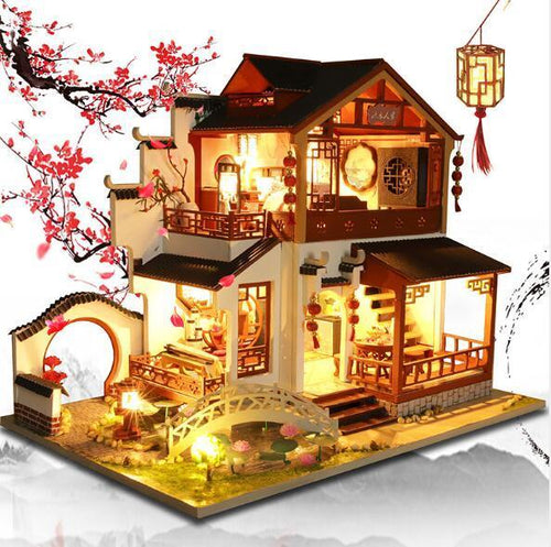 Chinese style DIY Doll House Furniture Assemble Wooden Miniature Dollhouse Diy Dollhouse Christmas Gift Toys For Children - Kawaii-Crafts.com