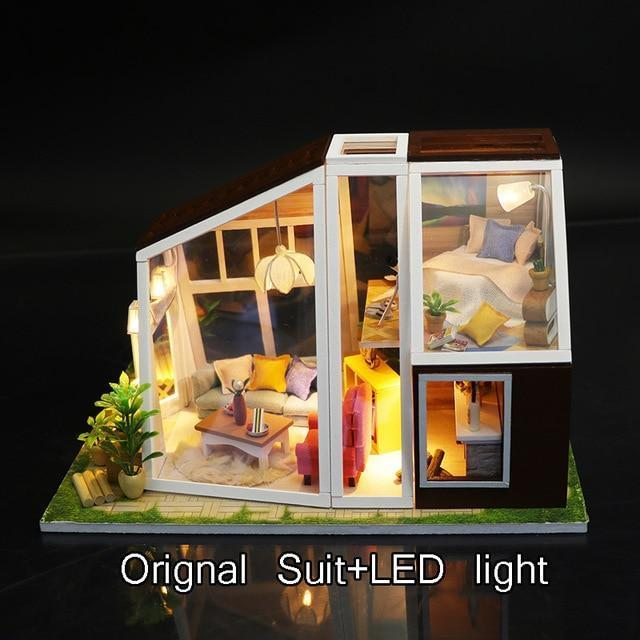 DIY Miniature Doll House Handmade Wooden Dollhouse Aurora Lodge With Dust Cover Light Doll House Toys For Children - Kawaii-Crafts.com