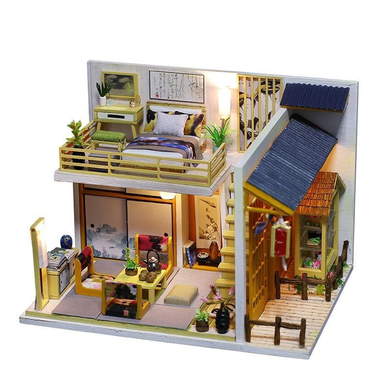 New Dollhouse kit with furniture Japanese Wooden Doll house Miniature Toy Set Doll House Toys for Children Kids Toy - Kawaii-Crafts.com
