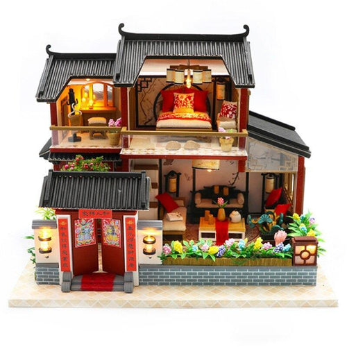 Doll House Chinese Style Hotel Miniature Dollhouse Assembly Kit Toy Wooden Retro Shop Furniture House Toys For Children No Cov - Kawaii-Crafts.com
