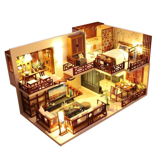 Miniature Dollhouse Kits DIY Wooden Furniture Chinese Ink Painting Dolls House Model LED 3D Puzzle Toy Home Decor Christmas Gift - Kawaii-Crafts.com