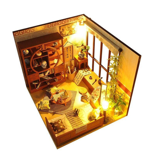 Miniature Chinese Calligraphy Wooden Dollhouse Puzzle Furniture Kits DIY Dolls House LED Lights Christmas Birthday Gift - Kawaii-Crafts.com