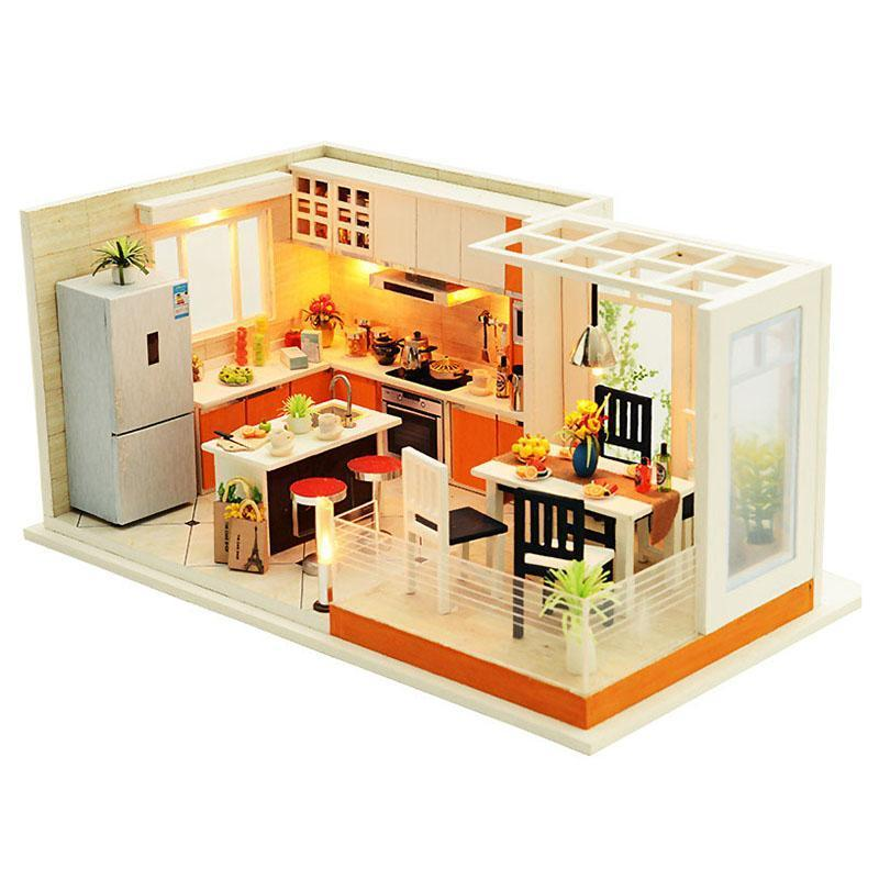 Modern Kitchens Handmade Dollhouse Furniture Miniature Diy Dollhouse Miniature Dollhouse Wooden Toys For Children - Kawaii-Crafts.com
