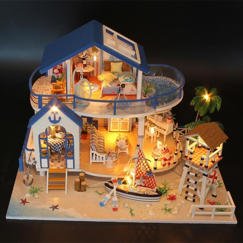 DIY Dollhouse with Doll House Furniture Toys for Children Cute Families House Legend of Blue Sea Dollhouse Family girl gift - Kawaii-Crafts.com