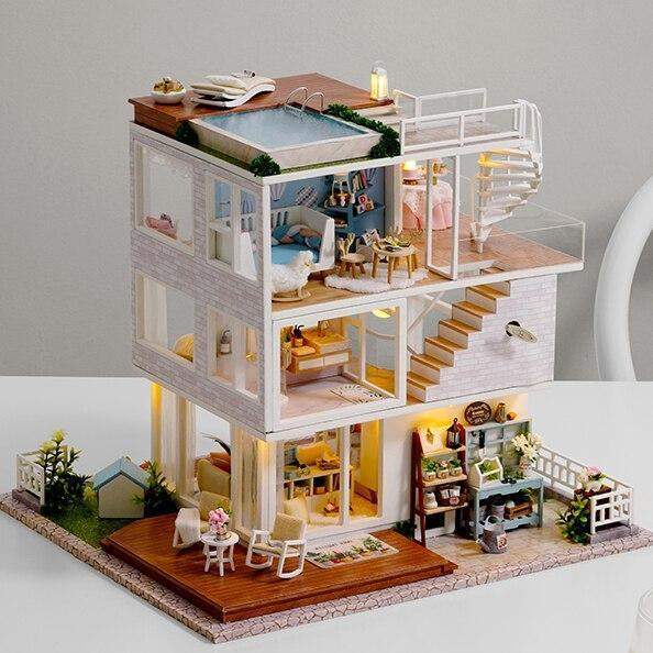 DIY Doll House Furniture Life is So Well Miniature Dollhouse Toys for Children Cute Families House Casinha De Boneca Lol House - Kawaii-Crafts.com