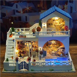 Large villa Doll House Miniature With Furnitures DIY Dollhouse Wooden Toys For Children Birthday Gift -Romantic journey - Kawaii-Crafts.com
