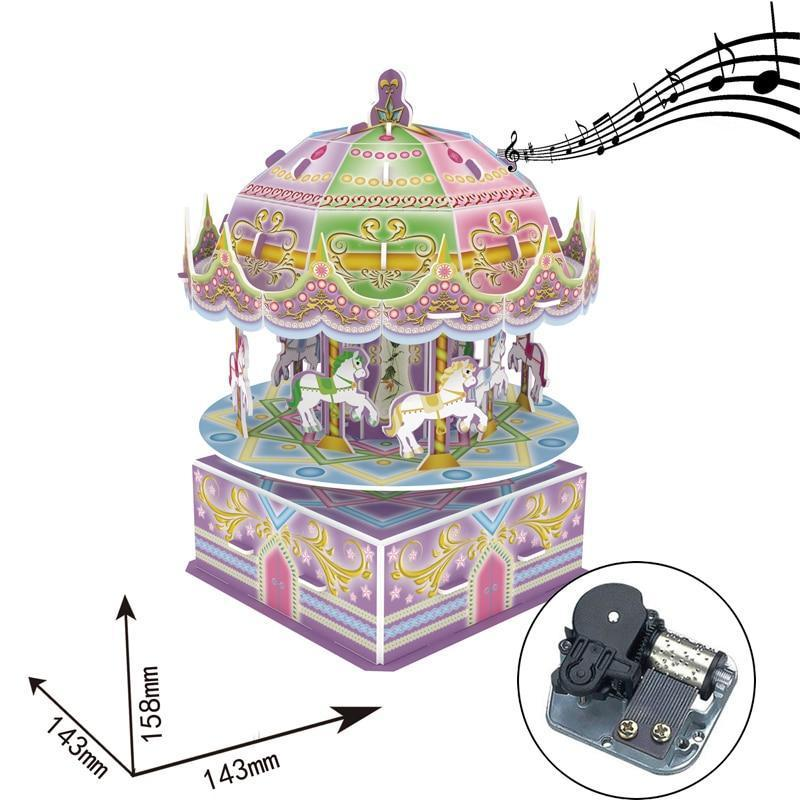 Robotime Music Box DIY 3D Paper Rotate Vaulting Horse Puzzle Musical Toys Assemble Building Kits Toys for Kids Adult Birthday - Kawaii-Crafts.com