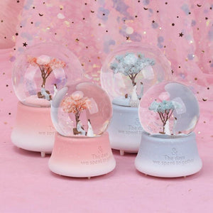 Sakura Romance Musical Crystal Globe With Light