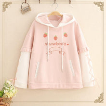 Load image into Gallery viewer, Strawberry Hoodie With Lace Up Sleeves