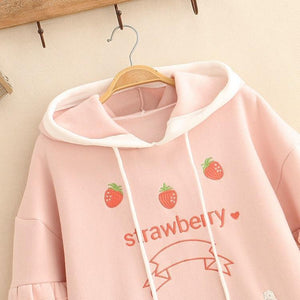 Strawberry Hoodie With Lace Up Sleeves