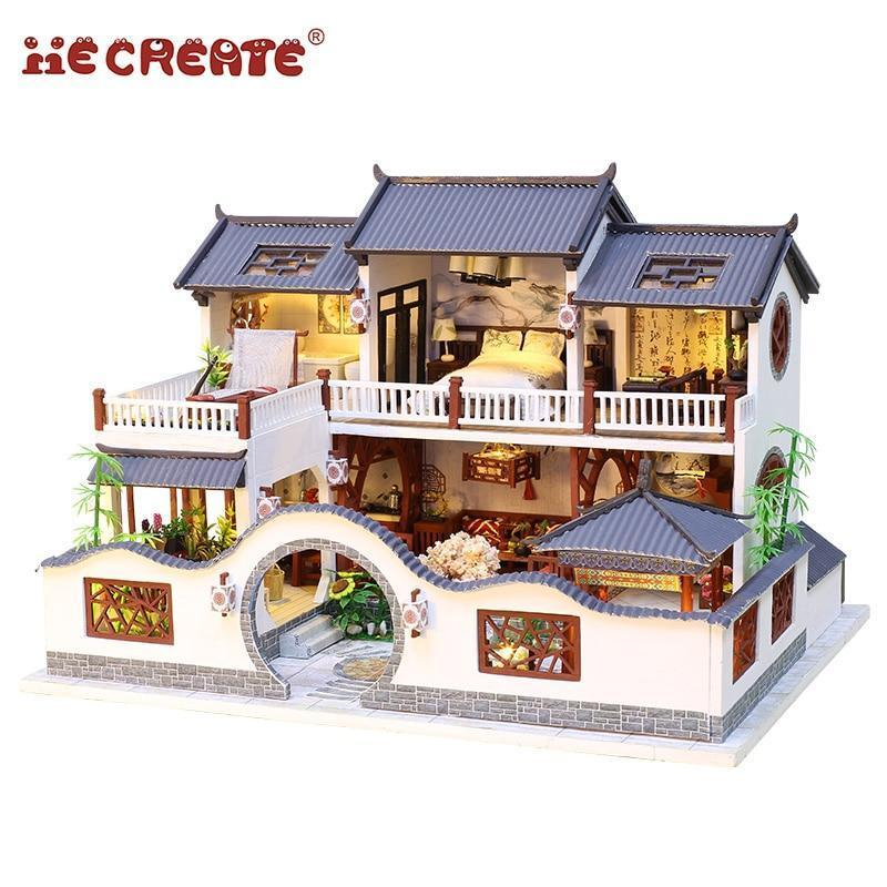 Chinese Manor Dollhouse Kit with LED Lights and Furniture