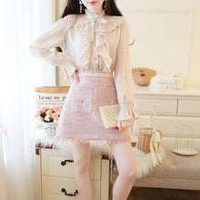 Load image into Gallery viewer, 2 Piece Set Flare Sleeve Blouse and Tweed Skirt