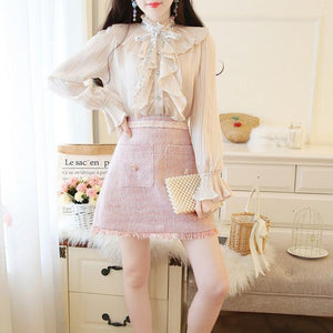 2 Piece Set Flare Sleeve Blouse and Tweed Skirt