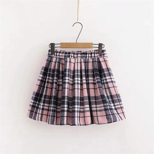 Hooded Sweatshirt And Plaid Pleated Skirt