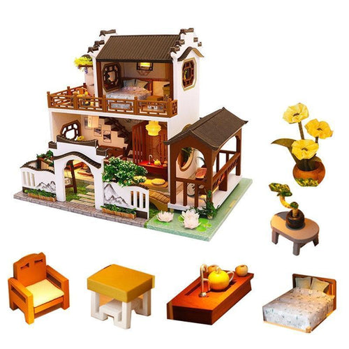 Retro Chinese Dollhouse Villa Kit