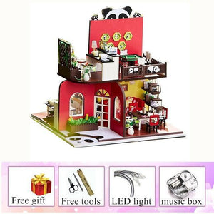 wooden doll house Chinese Style Panda miniature child toy house  diy kids furniture doll houses kit casa miniatura