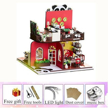 Load image into Gallery viewer, wooden doll house Chinese Style Panda miniature child toy house  diy kids furniture doll houses kit casa miniatura