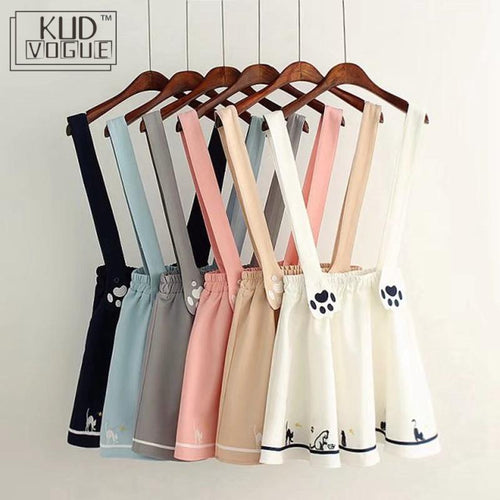 Kawaii Suspender Skirt With Embroidered Cat Paw