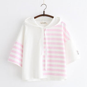 Half Striped Hooded Tees