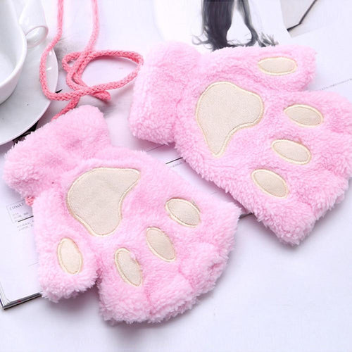Fluffy Paw Finger-less Gloves