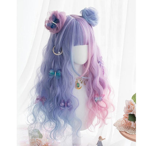 Long Curly Purple, Pink, and Blue Lolita Wig