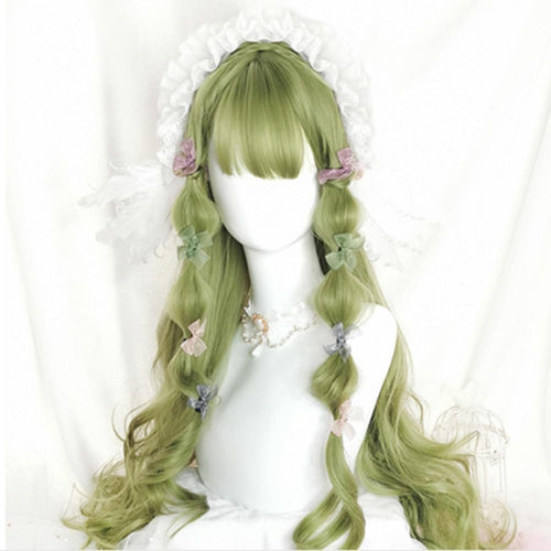 Long Wavy Grass Green Lolita Wig with Bangs