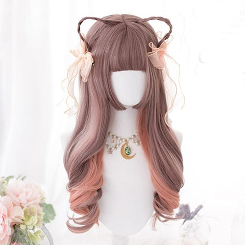 Lolita Light Coffee with Orange - Pink Ombre Wig