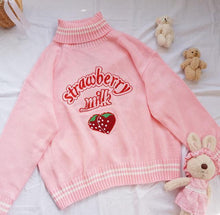 Load image into Gallery viewer, Strawberry Milk Turtleneck Knitted Sweater