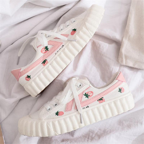 Strawberry Printed White Canvas Shoes