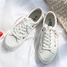 Load image into Gallery viewer, Strawberry Printed White Canvas Shoes
