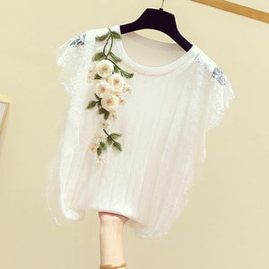 Embroidered Flower Lace Top