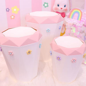 Large Capacity Pink Flower Waste Bin