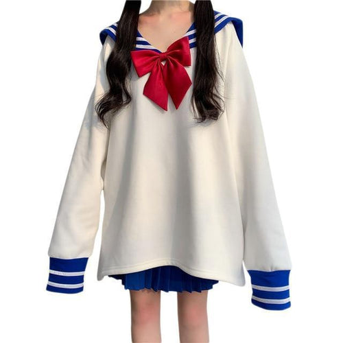 Cute Oversized Sailor Sweatshirt