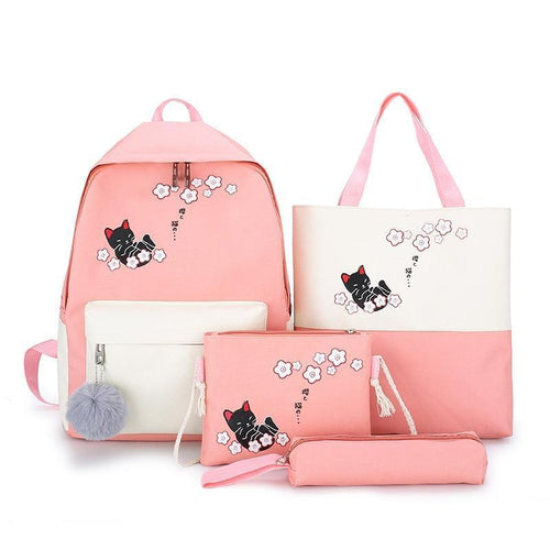 4 Sets/Pcs Sakura Neko Cat Backpack Purse Set