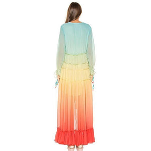 Chiffon Rainbow Maxi Dress