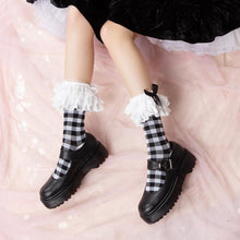 Load image into Gallery viewer, Black And White Gothic Lolita Lace Bow Socks