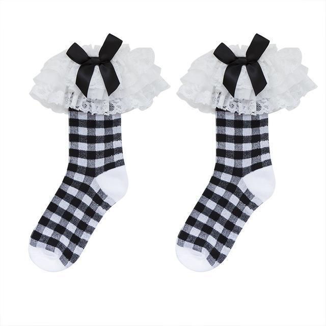 Black And White Gothic Lolita Lace Bow Socks