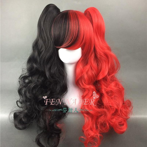 Long Wavy Black and Red Cosplay Wig