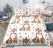 Load image into Gallery viewer, Shiba Inu Corn Duvet Cover Set
