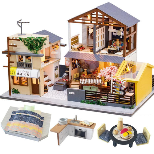 Japanese Dollhouse with Store DIY Kit with LED lights and furniture