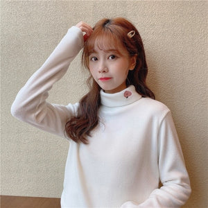 Cherry Embroidery Turtleneck Sweater