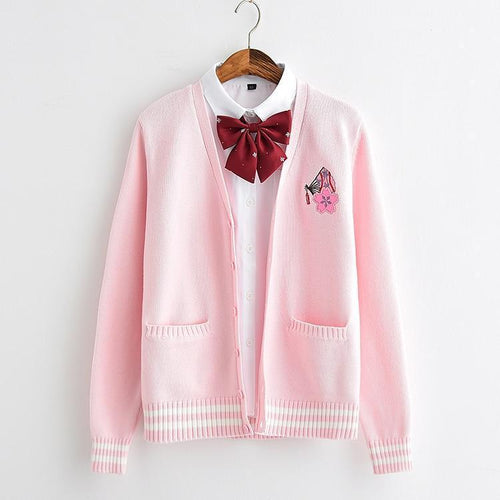 Cherry Blossom and Fan Knit Cardigan