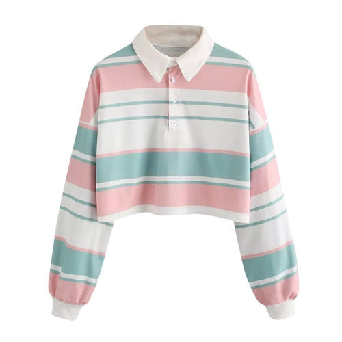 Striped Crop Pullover Sweatshirt