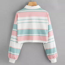 Load image into Gallery viewer, Striped Crop Pullover Sweatshirt
